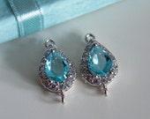 2 Pcs -  Medium Silver Plated Aqua Glass, Cubic Zirconia, Teardrop Connector, Waterdrop Setting, Earrings, Bridal Jewelry (18x10MM) 0115MS2