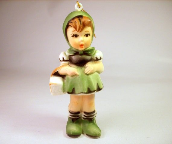 Vintage Christmas Ornament Hummel Style Girl By