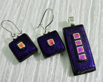 Dichroic Fused Glass Pendant Earring Set, Dangle Earrings, Dark Purple and Pink Dichroic Jewelry Necklace Set, Gifts for Her Under 30 Dollar