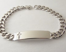 Custom Engraved ID Bracelet Personalized Silver Speidel with Cross 8.5 Inch Length   - Hand Engraved