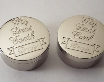 Custom Engraved Personalized Round Silver Keepsake Boxes - First Curl and First Tooth -  Hand Engraved