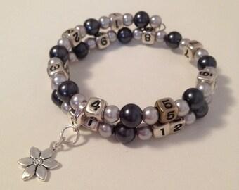 READY TO SHIP- Nursing/Breastfeeding Bracelet Black and Silver #23