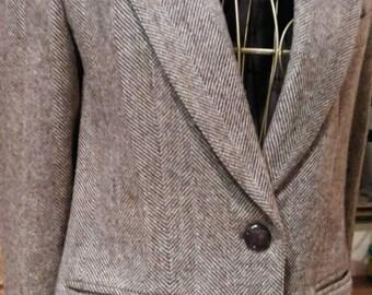 Vintage Herringbone Pattern Wool Blazer