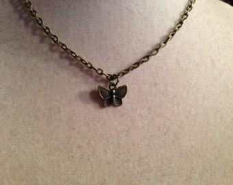 Butterfly Necklace - Brass Jewelry - Children Jewellery - Pendant - Girls - Chain - Fashion