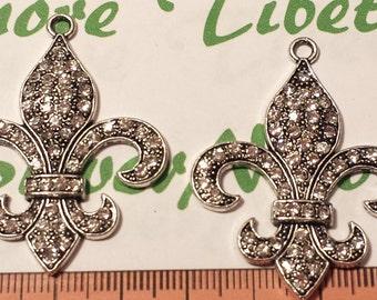 2 pcs per pack 36mm Clear Rhinestone Fleur de Lis Pendant in antique Silver lead free Pewter