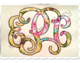 Vine Monogram Zig Zag Applique Machine Embroidery Font Alphabet - 3 Sizes