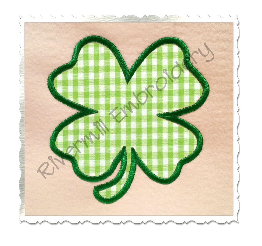 Four leaf clover applique machine embroidery design sizes
