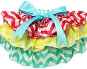 Fluffy Ruffled Chevron Bloomers - Turquoise, Yellow & Hot Pink