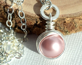 Rose Pearl Necklace, Dusty Rose Necklace, Sterling Wire Wrapped Pendant, Solitaire Necklace, Swarovski Necklace, Pink Pearl Necklace