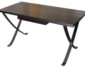 Vogue contemporary mahogany metal legs desk