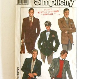 Vintage Simplicity 1988 Mens Single And Double Breasted Lined Jackets Uncut Size 46 Pattern Number 8783