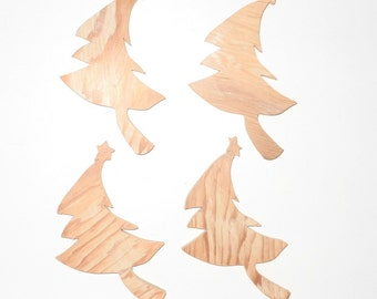 Primitive Tree Cut Outs Upcycled Unfinished Wood Set Of Four Great Winter Ornaments
