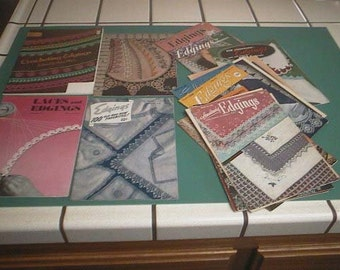 Lot of 14+ Vintage Knit, CROCHET and Tatting EDGINGS Booklets - Vintage How To Make Lace Edgings Pattern Booklets