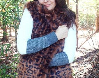 Fur Vest, Leopard Animal Print, Plush Faux Fur, Ocelot Animal Print, Medium, Soft, Cozy, Warm and Classy