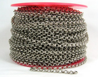 25ft 4.8mm Rolo Chain - Antique Silver - 4.8mm Links - CH80