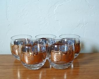 Vintage Gold Band Roly Poly Glasses Set of 5 Large Gold Trim Mad Men Hollywood Regency Mid Century