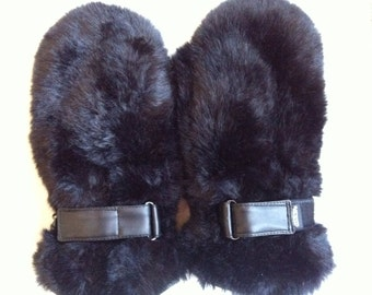 Faux Fur Gloves - Vintage Winter Gloves - Faux Fur Mitts - Black Fur Gloves - Ski Gloves Skiing Gloves