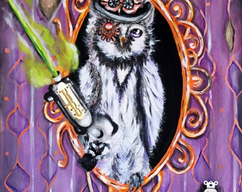 owl art, steampunk, Victorian, owl painting, art, home decor, prints, posters, gifts, steampunk weapons, laser, revolver, antique, top hat
