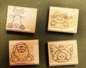 Holiday Helpers: Christmas elf, reindeer, angel and, Santa himself. Stampin' Up! Rubber Stamps Set -