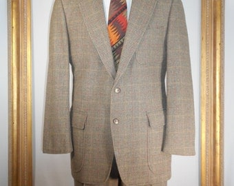 Vintage 1980's Nines by Southwick Brown Houndstooth Tweed Suit - Size 43