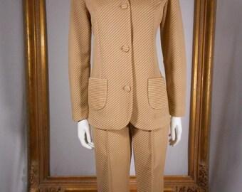 Vintage 1970's Fred Lief Beige Striped Pant Suit - Size 12