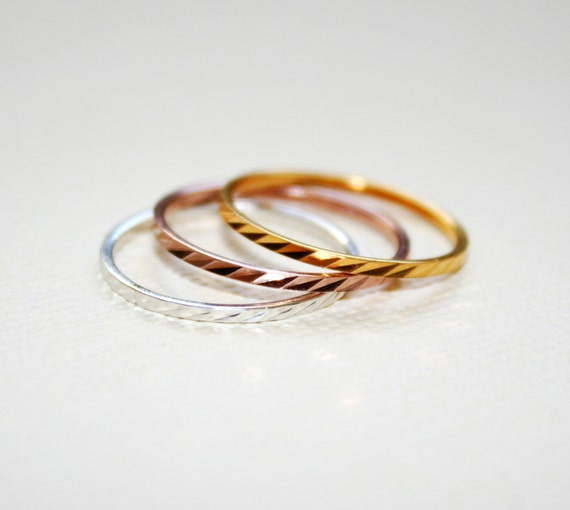 ONE of EACH COLOR 3 Stackable Rings  Rose Silver Gold 925 Sterling Silver