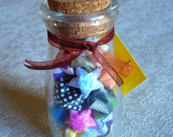 Prosperity & Abundance - Small Cork Glass Jar of Affirmation Stars