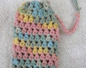 Crochet Soap Saver, Soap Sack, Soap Cozie, Multi colored cotton yarn, blue, green, yellow, blue, pink