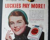 Lucky Strike Cigarette Advertisement 1950 Original Vintage Tobacco Ad Tobacconist Midcentury Kitsch Tobacciana Smoking Collectible