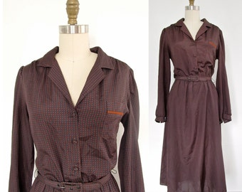 Vintage Dress . 1980s Jonathan Martin Silky Polka Dot Belted Shirt Dress . Size Medium