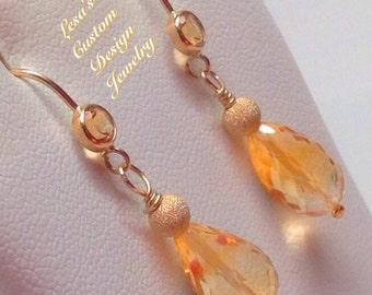 Honey Citrine Dangle Gold Filled Earrings