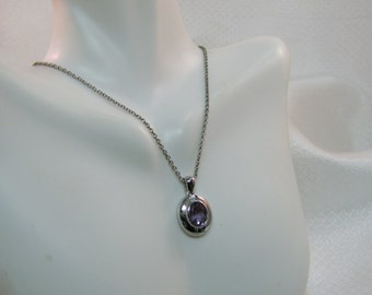 """Man Made Amethyst and Sterling Pendant, 16"""" Chain"""