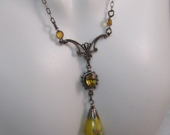 1980's Victorian Reproduction Glass Pendant Necklace