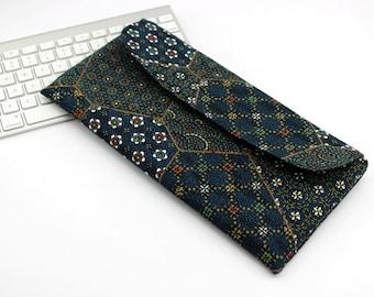 Apple Wireless Keyboard Sleeve Case Cover Padded Flap Closure Kimono pattern fabric Sashiko Pattern navy
