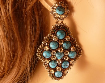 Turquoise Bead Embroidery Earrings