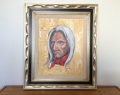 """Original Painting with Frame Portrait Old Native American Man with Gray Hair 28.5"""" T x 24.5"""" W"""