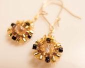 Beaded Gold Earrings, Gold Flower Earrings, Black and Gold, Dainty Earrings, Small Earrings