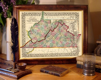 Virginia map - West Virginia map - Old map of Virginia and West Virginia - Giclee print on premium paper