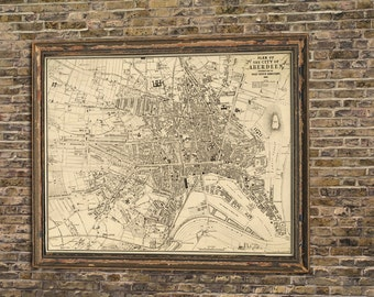 Aberdeen map -  Vintage map restored -  Old map of Aberdeen fine reproduction