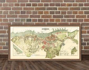 Old map of Goteborg - Historic map  of Goteborg - Gammal karta över Göteborg