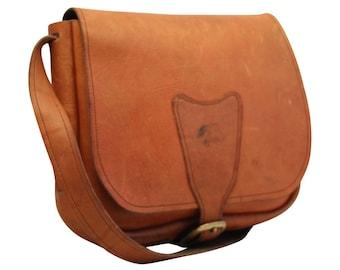 Vintage, Tan Leather Satchel, Saddle Bag, Tote, Handbag, Saddle Bag