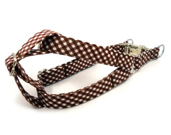 Gingham Brown Dog Step in Harness