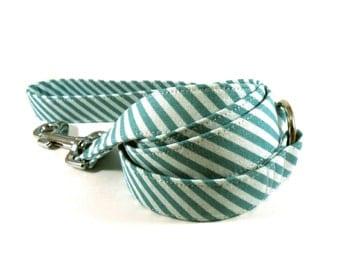 Dog Leash, STRIPES in TEAL Dog Leash, Handmade
