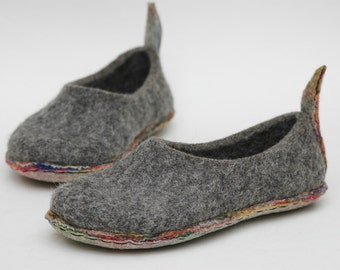 Felted slippers Multilayer sole  Woman home shoes Grey shoes Traditional felt Natural wool Extremely comfortable Gift for her Woolen clogs