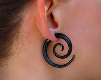 Large Double Spiral, Fake Gauge Earrings, Tribal Jewelry, BOHO Earrings, Fake Gauges, Eco Friendly, Black Horn, Organic Earrings - H14