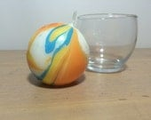 Medium Round Yellow Orange Blue and White Marbled Candle