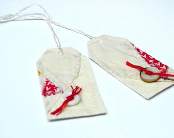 Vintage Patchwork Tags Primitive Fabric Cutter Quilt Top Everyday All Occasion Gift Tags Hang Tags Tie Ons itsyourcountry