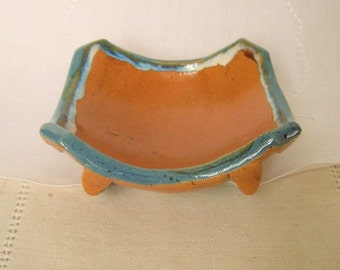 Stoneware Pottery Soap Dish in Denim, Rust, and Tan with Porcelain Flowers, Bathroom Accessories,