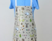 Child Oilcloth Apron  Easter Bunnies and Eggs Toddler Apron PVC Apron Waterproof Apron