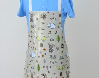 Child Oilcloth Apron - Easter Bunnies and Eggs, Toddler Apron, PVC Apron, Waterproof Apron